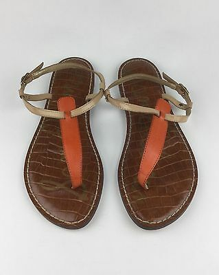 f4e41604ed608c Sam Edelman Gigi Womens Orange Tan Leather Ankle Strap T-Strap Sandals Sz  US 7.5