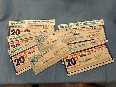 Lot of Bed Bath and Beyond Coupons: Two $10 off $30 + Six 20% off
