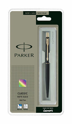 Parker Classic Matte Black GT Gold Trim Ball Point Pen, Blue 0.8 mm Ink, Jotter
