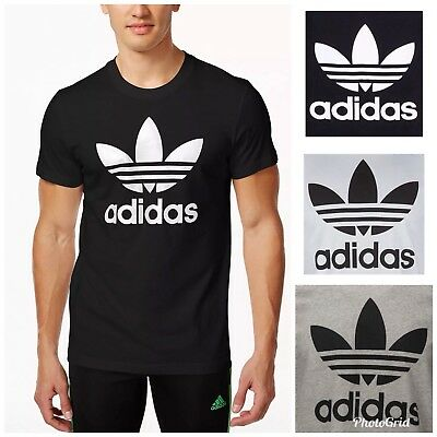 638ee1a88 ADIDAS ORIGINALS MENS Branded Trefoil Crew Neck Cotton Short Sleeve ...