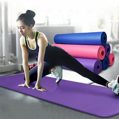 Yoga Mat 10mm Thick Exercise Fitness Physio Pilates Gym Mats Non Slip Carrier @M
