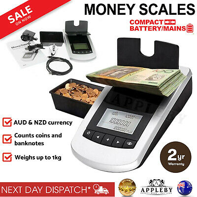 Money Notes Coin Machine Coin Scale Count Digital Portable Banknote Counting NEW