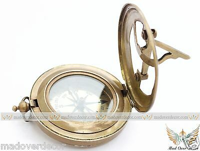Maritime West London Steampunk Brass Handmade Sundial Compass Push Button Pirate