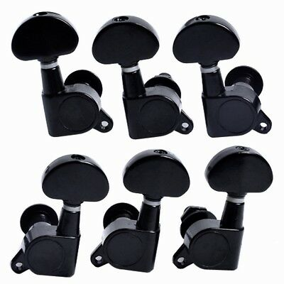 Black Sealed Acoustic Guitar Tuning Pegs Machine Heads Tuners 3L3R Buttons Keys