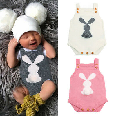 UK Easter Newborn Baby Boys Girls Bunny Knitting Wool Romper Bodysuit Outfit Set