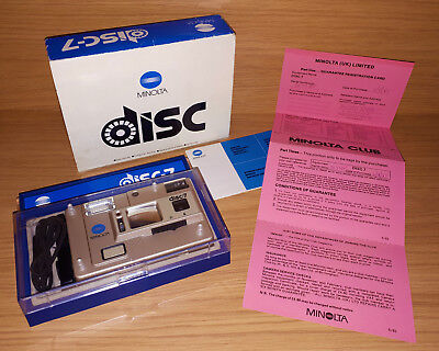 Vintage Rare Minolta Disc-7 1987 Disc Camera Boxed With Papers