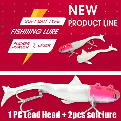 Shad worm  Silicone  sea T Tail Lead Head hook Minnow Lure Soft  bass Bait