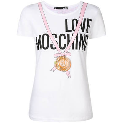 T SHIRT LOVE MOSCHINO donna F8700M4051 white ss19 EUR 124