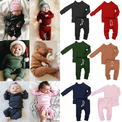 UKStock Newborn Infant Baby Boy Girl Clothes T-shirt Top+Pants Kids Outfits Sets