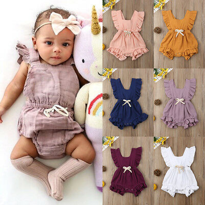 UK Newborn Baby Girl Ruffle Cotton Romper Bodysuit Jumpsuit Outfit Sunsuit 0-24M