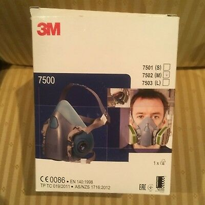 New - 3M 7500 Series Reusable Half Face -Mask Respirator - Medium ( 7502 )