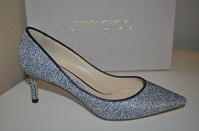 c95df2b18e2d Jimmy Choo ROMY Pointy Toe Pump Heel Shoes Chalk Graphic Woven Raffia 36.5  - 6