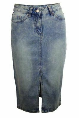 Vintage Authentic Washed Denim Skirt Straight Fit with Front Split