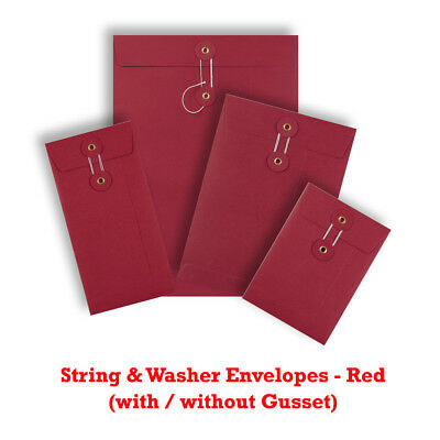 Strong String & Washer Bottom-Tie Envelopes Red - DL C6 C5 C4 Sizes - Cheap