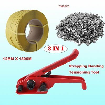1500M 12MM Pallet Strapping Banding Coil + 2000*Metal Seal Clips+Tensioning Tool