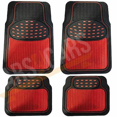 Shiny Red Metallic Checker Style Car Heavy Duty Black Rubber Set of 4 Mats Set