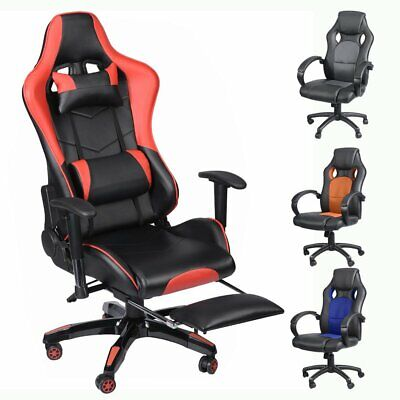 Executive Office Chair Racing Computer Gaming Backrest 360 Swivel W/ Footrest UK
