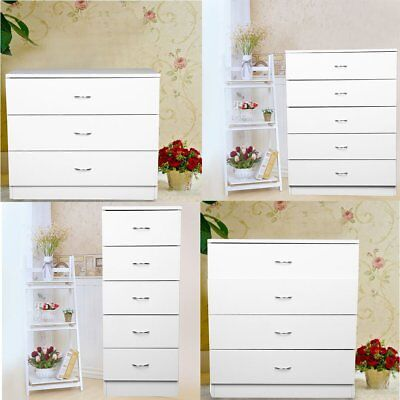 Chest of Drawers Bedroom Furniture. Storage Units. White,  3 / 4 / 5 Door