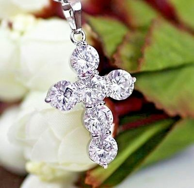 Jewelry & Watches Certified 3.10ct White Round Diamond Cross Pendant In Solid 14k White Gold Fine Necklaces & Pendants