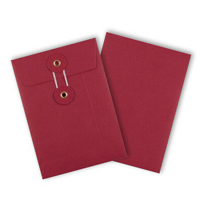 Strong String & Washer Bottom-Tie Storage Envelopes Red - A6/C6 Sizes - Cheap