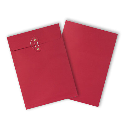 Strong String & Washer Bottom-Tie Storage Envelopes Red - A4/C4 Sizes - Cheap