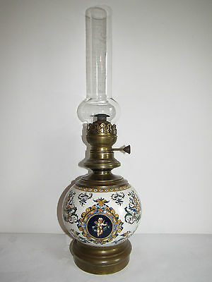 05C58 Antique Lamp Oil Faience Gien Decor Renaissance Cherubim