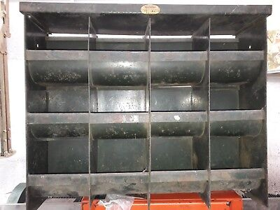 Vintage Antique Steel Racking Pigeon Hole Cabinet Industrial Drawers 12 holes