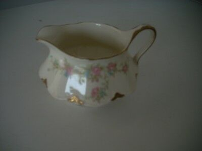 Taylor Smith Taylor China, Pattern 8395 Creamer Pink Flowers, Gold Rim