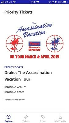 Drake Assassination Vacation Tour, 3 X Standing Tickets - London 02