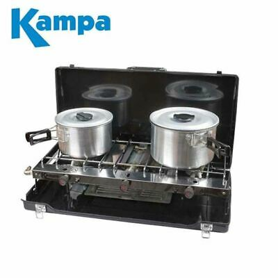Kampa Alfresco Double Gas Hob & Grill Camping Cooker Folding Stove 2019 Model