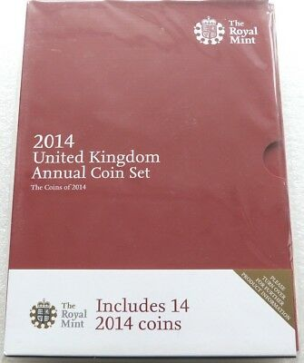 2014 Royal Mint Annual Brilliant Uncirculated 14 Coin Set Still Mint Sealed
