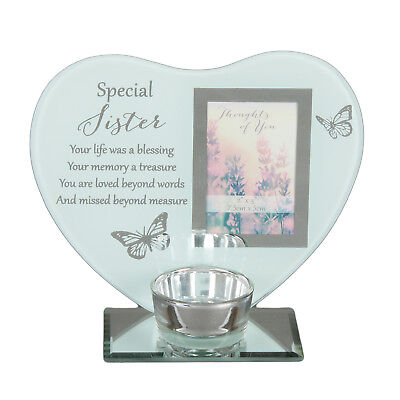 Glass Heart Sister Memorial Candle T Lite Holder Remembrance Photo Plaque Gift