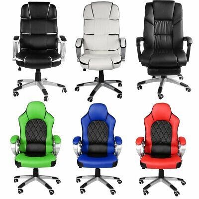 Reclining Sports Racing Gaming Office Desk Pc Leather Chair Recliner Footrest