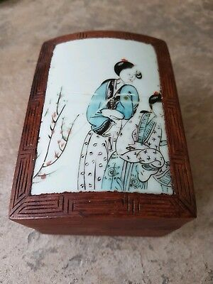 Antique Chinese wood Box inlaid porcelain decorated top possibly shipwreck ??