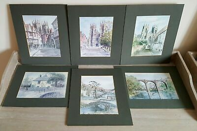6x LOVELY VINTAGE MOUNTED COLIN WILLIAMSON YORK & LAKE DISTRICT COLOUR PRINTS