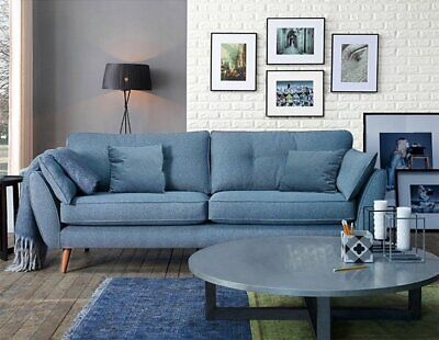Zinc Blue Fabric Sofa Set 3+2 Seater Design Soft Fabric Deep Seat Sofas Suite