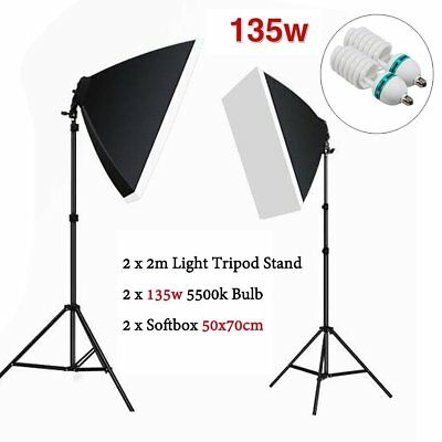 2x 135W Photo Studio Softbox Kit Continuous Lighting Video Light Soft Box Stand