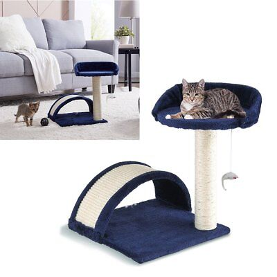 Navy Blue Cat Tree Scratching Post Climbing Activity Centre Sisal Bed Toys Tower