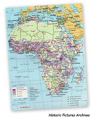 Map Of Africa Vintage French Picture Card 1980 French Text Inc Populations