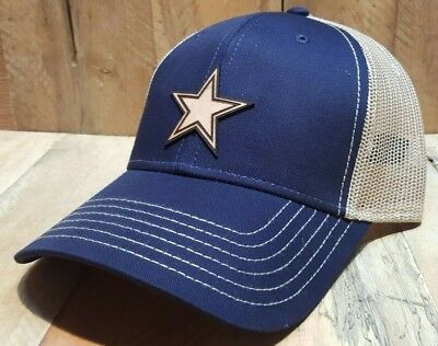 Dallas Cowboys Cap Navy/Khaki Structured Low Fit Laser Engraved Leather Patch