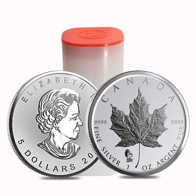 Roll of 25 - 2019 1 oz Silver Canadian Maple Leaf Phonograph Privy Reverse Proof