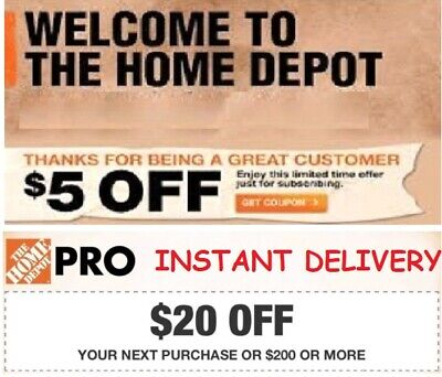 FIVE Home Depot $5 Off $50 Coupon In Store Only Purchase ***INSTANT DELIVERY***