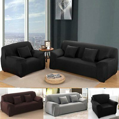 1/3/4 Sofa Covers Couch Slipcover Stretch Elastic Fabric Settee Protector Fit UK