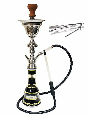 """Professional Large Silver One Hose Hookah with Ice Chamber 30"""" Tall ON SALE"""