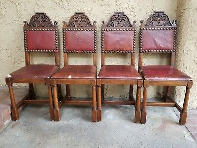 SET~4x Antique French Carved Tiger Oak GOTHIC Revival Dining Chairs Leather Seat