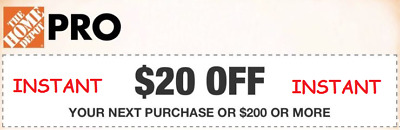 1x One ~ Home Depot $20 off $200 1Coupon-In-Store Only INSTANT DELIVERY Exp 4/1