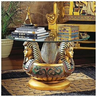 Ancient Egyptian Three Golden Pharaoh Tut Heads Sculptural Table Glass topped