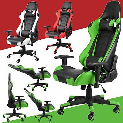 Reclining Sports Racing Gaming Office Desk Pc Leather Adjustable Swivel Chair