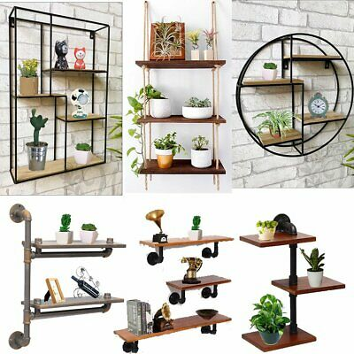 Wall Unit Vintage Retro Wood Industrial Style Metal Shelf Rack Storage Display
