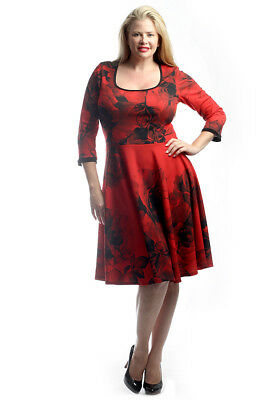 35ff89fa39efa Melissa Masse Red floral Print Fit and Flare Dress Plus Size 3X
